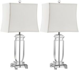 Table Lamp 24 in. Clear Crystal with Rectangular Off White Shade Set of 2