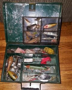 Antique Creme City Tackle Box w Heddon Vampire Old Wood Lures Spinners Oiler