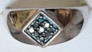 NIB! BLUE DIAMOND MEN'S SOLID STERLING SILVER RING SIZE 10 5.9 GRAMS