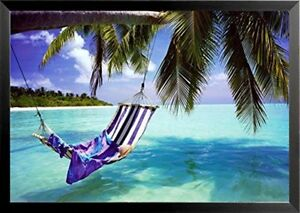 FRAMED Tropical Beach - Hammock with Towel and Hat 36x24 Coastal Poster Romantic