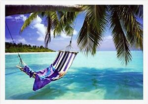 FRAMED Tropical Beach - Hammock with Towel and Hat 36x24 Poster WHITE FRAME
