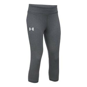 Under Armour Girls HeatGear Capri Carbon Heather LG (14-16 Big Kids) x One Size