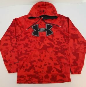 Men's Under Armour Red Camo H Storm Pullover Hoodie Size M