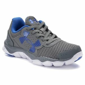Boys Under Armour Size 3 Engage Running Shoes EUC Grey and Blue