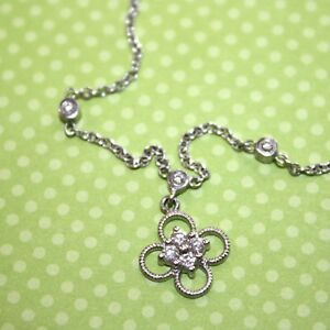 18K White Gold Cabled Floral Chain Choker Necklace Diamond Accents 15