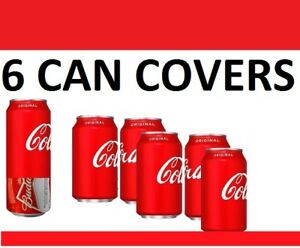 6 PACK ALL RED HIDE A CAN BEER COVERS SODA CAMO BEER WRAP SLEEVES