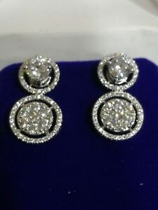 Women Earrings Studs Two Changable  Diamond 1.50 ct with 18 K White Gold Over