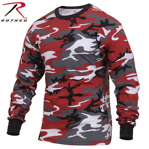 Mens Red Camo Long Sleeve T Shirt Rothco Colored Camo Poly Cotton Tee 3173 $13.99