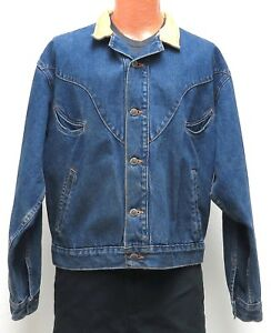 Schaefer BLUE JEAN JACKET LARGE Leather Collar Smile Pockets Outfitter made USA
