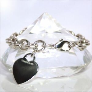 Tiffany & Co Heart Tag Charm Bracelet Chain 925 Sterling Silver 7.5