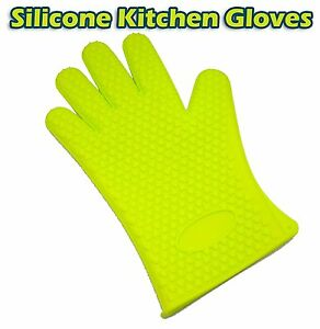 2 Gloves Heavy Duty Silicone Kitchen Oven and Freezer Finger Mitts  BBQ safe