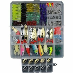 AGadget Fishing Lures 203 PCS Kinds of Baits for Bass Trout Good Fishing Gear in