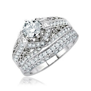 Vintage Design 5.00 CTW Round Shape Diamond 18K Wedding Ring Sets GIA certified