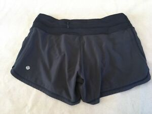 Lululemon Groovy Running Shorts Lined 6 Womens Black Solid Grey Liner Zip Pocket