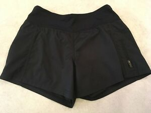 Lululemon Shorts 4 Womens Black Zipper Side Pocket Lined Running
