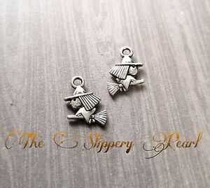 10 Witch Charms Antique Silver Tone Halloween Pendants Findings 2 Sided