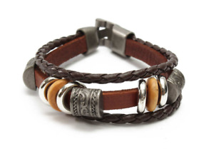 Men Women Brown Punk Bracelet Vintage Leather Bangle Wristband Unisex Bracelet