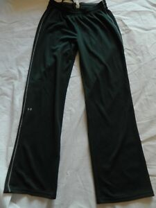 Under Armour Sweat Track Pants Women's S Black Gray Athletic Lounge Semi Fitted