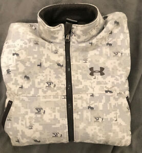 RARE EARLY Under Armour Men's Fleece Jacket Arctic Digital Camo White M Winter