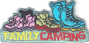 FAMILY CAMPING Iron On Patch Camper Scouts Girl Boy Cub Outdoors