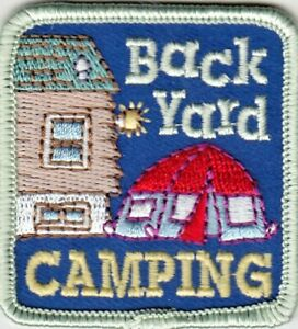 quot;Backyard Campingquot; Iron On Patch Scouts Tent Cub Girl Boy Camper