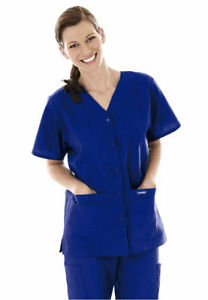 LANDAU WOMEN#x27;S V NECK SNAP FRONT CLASSIC FIT SET IN SLEEVES SIDE VENTS #8232