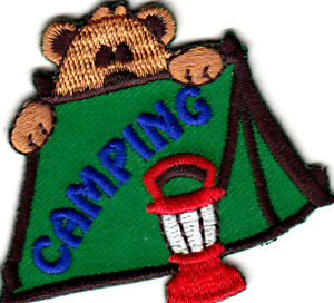 CAMPING Iron On Patch Scouts Camp Cub Boy Girl Trip Camper