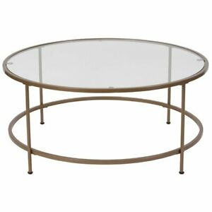 Flash Furniture Round Glass Top Coffee Table