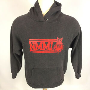 Vtg 80s Paper Thin Distressed Military College University Hoody Sweatshirt NMMI