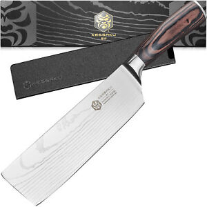Kessaku Butcher Cleaver Nakiri Samurai Series High Carbon Stainless 7quot;
