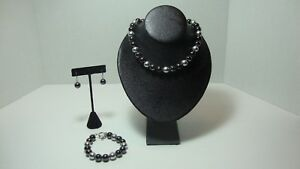 Tahitian Style Black & Grey Pearl Necklace Bracelet Earring Set