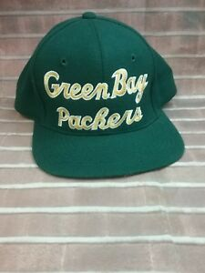 Green Bay Packers Team NFL Green wYellow Embroidered Lettering Baseball Cap.