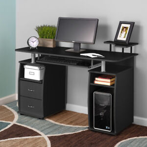 Computer Desk PC Laptop Writing Table Workstation Drawers Monitor