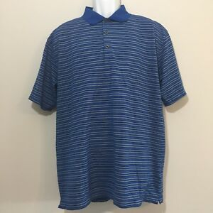 Men's Nike Fit Dry Polo Golf Golfing Shirt Short Sleeve Blue Gray Striped XL EUC