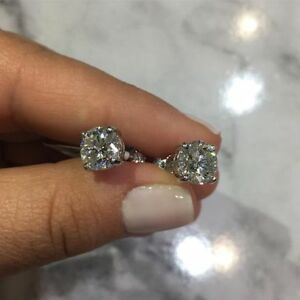 Women's Earrings Stud 1.50 ct Solitaire Diamond  with 18 K White Gold Over