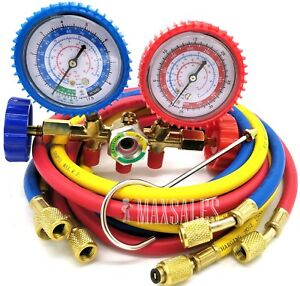 New R134A R12 R22 Manifold Gauge Set AC Refrigeration Test w 60 Charging Hoses