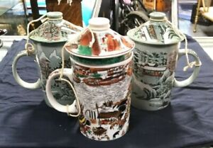 Trio of Vintage Japanese Porcelain Lidded Teacups 1 With Matching Strainer