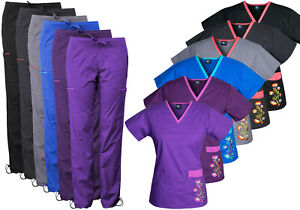 Medgear Women's Stretch Scrubs with Embroidery Scrubs Set Medical Uniform 7902