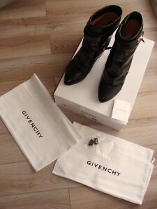 100% Givenchy Shark Lock Eel Skin Leather Mid Calf Wedge Boot Black Size 8