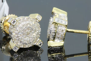 .53 CARAT YELLOW GOLD FINISH MENS WOMENS 9 mm 100% REAL DIAMONDS EARRINGS STUDS