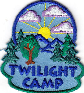 TWILIGHT CAMP Iron On Patch Scouts Cub Girl Boy Camping