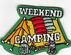 WEEKEND CAMPING Iron On Patch Camping Scouts Cub Girl Boy Campers Outdoors