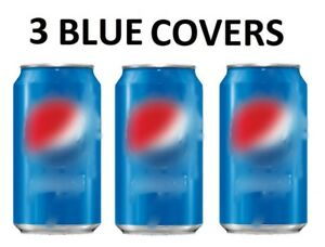 3 PACK HIDE A CAN BEER COVERS SODA CAMO BEER WRAP SLEEVES 3 BLUE