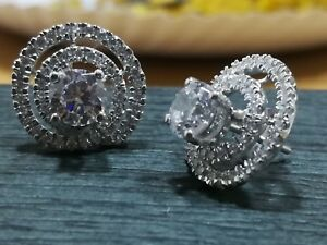 1.50ct solitaire Diamond Earrings Women Estate Vintage With 14K White Gold Over