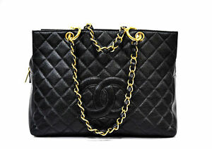 Vintage CHANEL CAVIAR LARGE BLACK GRAND TOTE