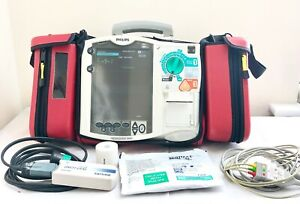 PHILIPS MRX HEARTSTART AED DEFIB & PACER + 3 LEAD ECG CABLE CASE PRINTER M3536A