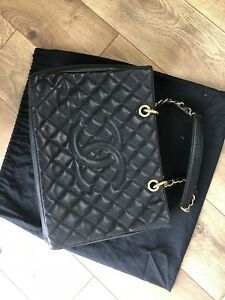 Authentic Chanel GST Grand shopping Tote Black Caviar Golden Hardware