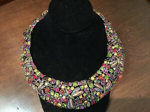 AUTHENTIC SIGNED HEIDI DAUS LARGE MULTI COLOR CRYSTAL DRAGON FLY NECKLACE NO RES