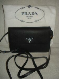 100% AUTH NEW PRADA SAFFIANO BLACK SMALL CROSSBODY WALLETHANDBAGPURSEBAG