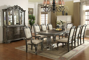 Royal 7Pcs Dining Set Double Pedestal Beautiful Carved Table w/6 Uph Seat Back